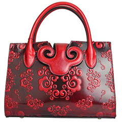 Red Handmade Floral Leather Handbag LH2156