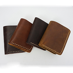 Bi-fold Pull Up Hunter Leather Wallet LH2216_4 Colors