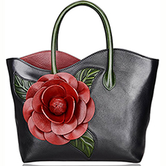 Black Flower Genuine Leather Shoulder Bag LH2341