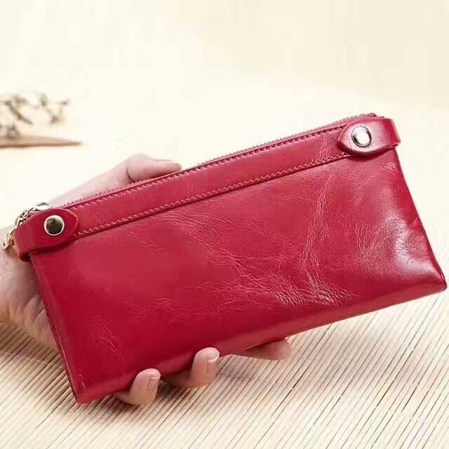Muti-zipper Distress Leather Wallet LH2342_5 Colors