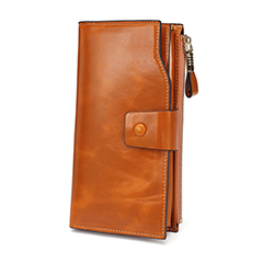 Tan Multiple Designer Distress Leather Wallets LH2438