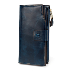 Navy Blue Multiple Designer Distress Leather Wallets LH2438