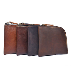 Zip Around Distressed Leather Coin Purse LH2573_4 Colors