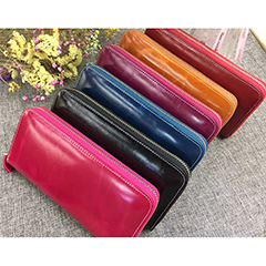 Handmade Zipper  Distress Leather Wallet LH1087_7 Colors