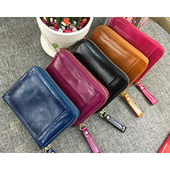 Distress Zippered Wallets Card Holder LH2605_5 Colors