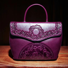 Floral Embossed Genuine Leather Satchel Bag LH2634_2 Colors