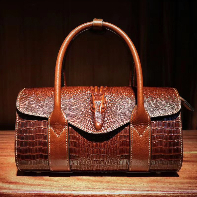 Crocodile Embossed Leather Tote Handbag LH2648_5 Colors