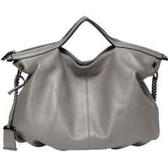 Grey Zipper Leather Tote Satchel Bag LH2658