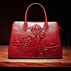 Floral Embossed Leather Handbag LH1798_5 Colors