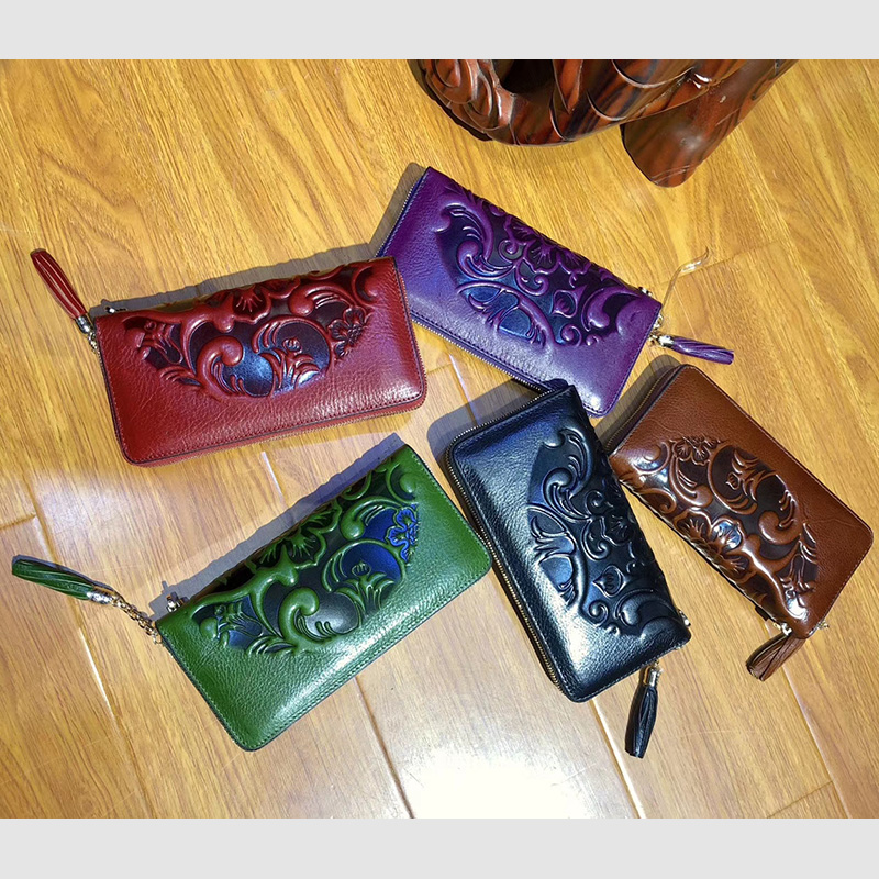 Floral Pattern Real Leather Purse LH2505_4 Colors