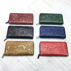 Zip around Floral Real Leather Wallet LH2942_6 Colors