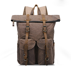 Canvas & Leather Backpack Travelling Bag LH3005_3 Colors