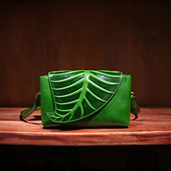Leaf Pattern Real Leather Clutch LH2307_ 4 Colors