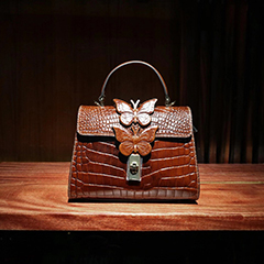 Butterfly Crocodile Pattern Leather Satchel Bag LH3035_5 Colors
