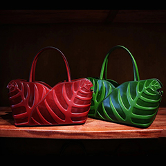 Leaf Pattern Real Leather Tote LH2306_ 2 Colors