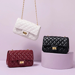 Quilted Genuine Leather Crossbody Bag LH3091M_6 Colors