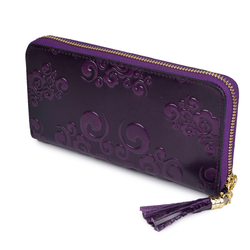 Floral Tassels Zippered Around Leather Purse LH2309A_2 Colors