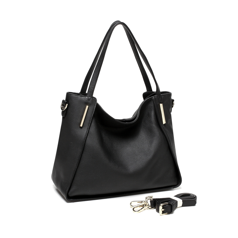 Black Soft Genuine Leather Shoulder Bag LH2323
