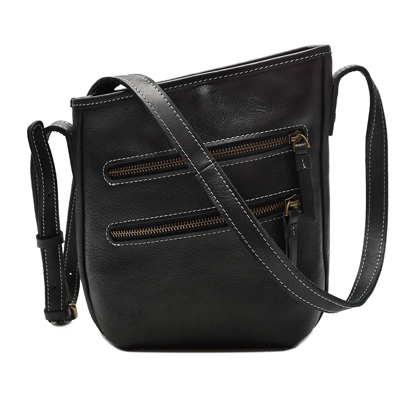 Muti-Zippers Leather Cross Body Bag LH2331_2 Colors