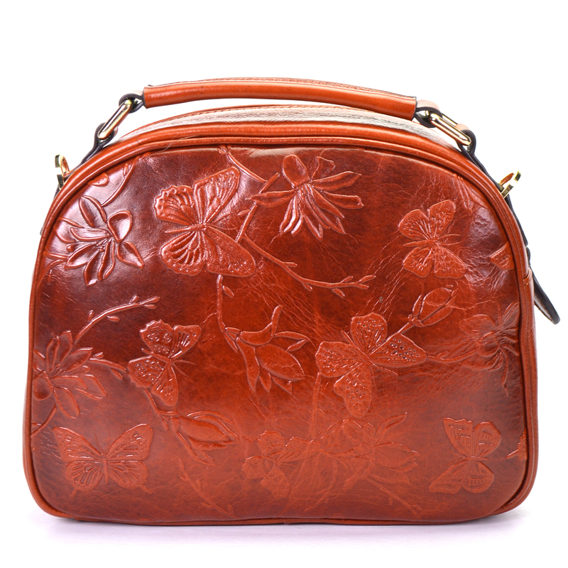 Butterfly Pattern Real Leather Tote LH2353_3 Colors
