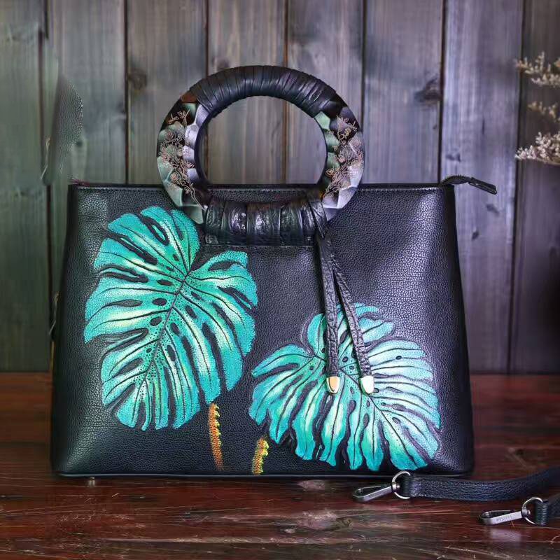 Leaves Pattern Circle Handle Bag LH1394C_3 Colors
