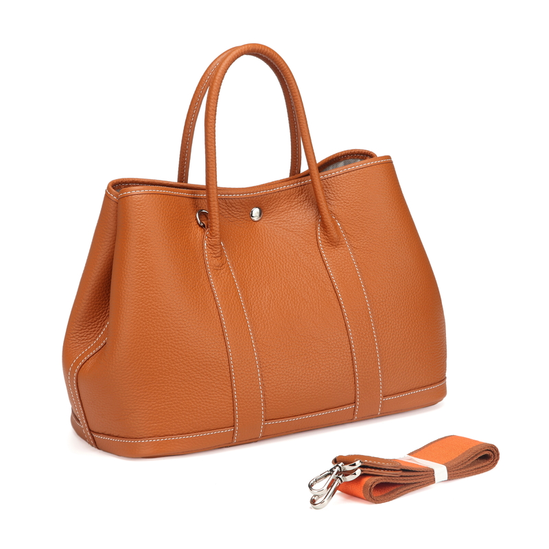 Brown Elegant Real Leather Tote LH2382L