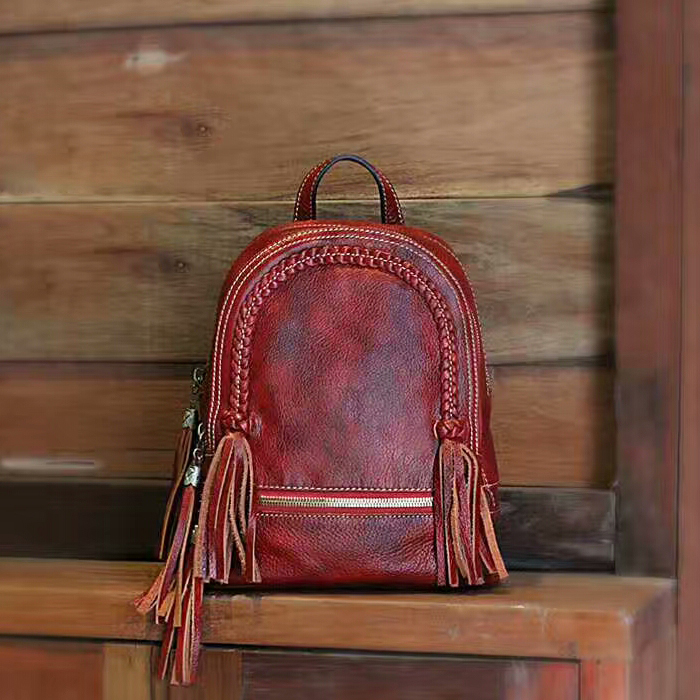 Handmade Braid &Tassels Leather Backpack LH2412
