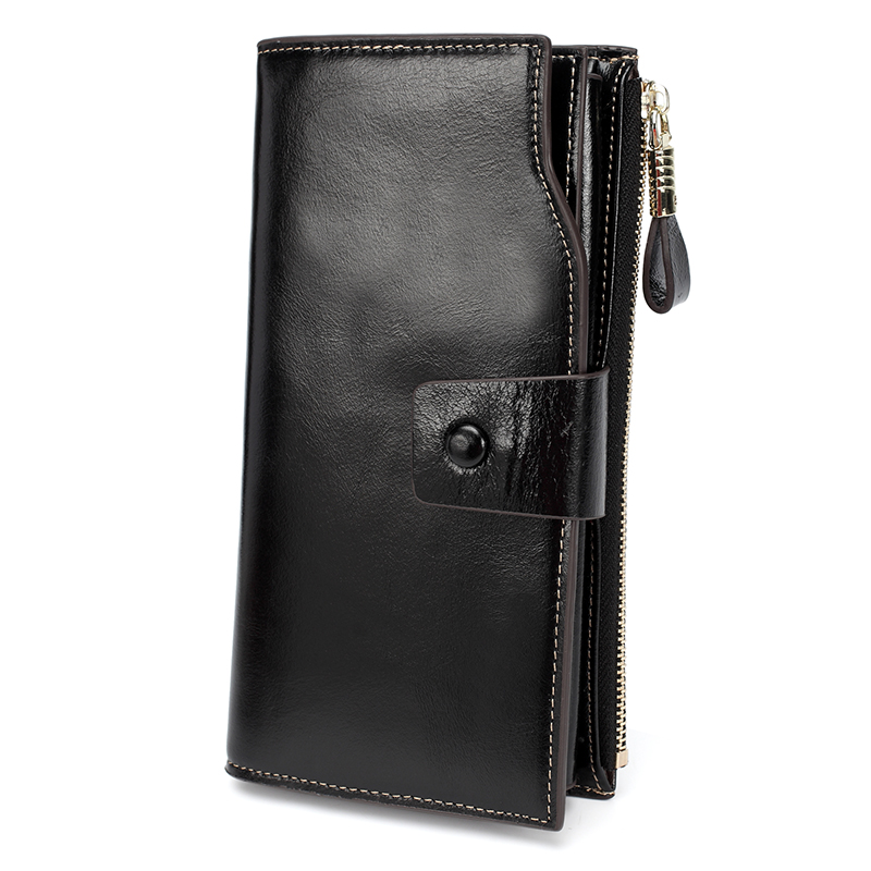 Black Multiple Deisgner Distress Leather Wallets LH2438