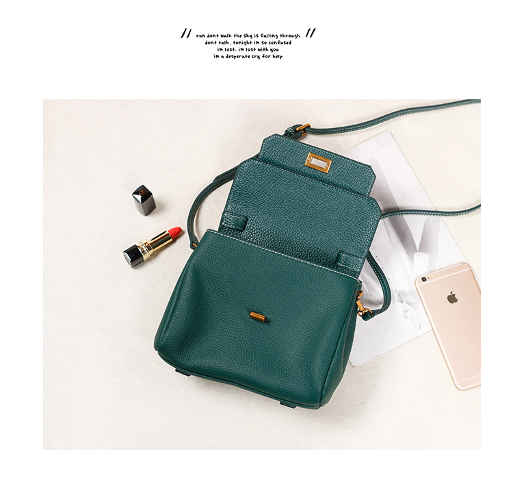 Flap Real Leather Purse Bag LH2470_ 4 Colors