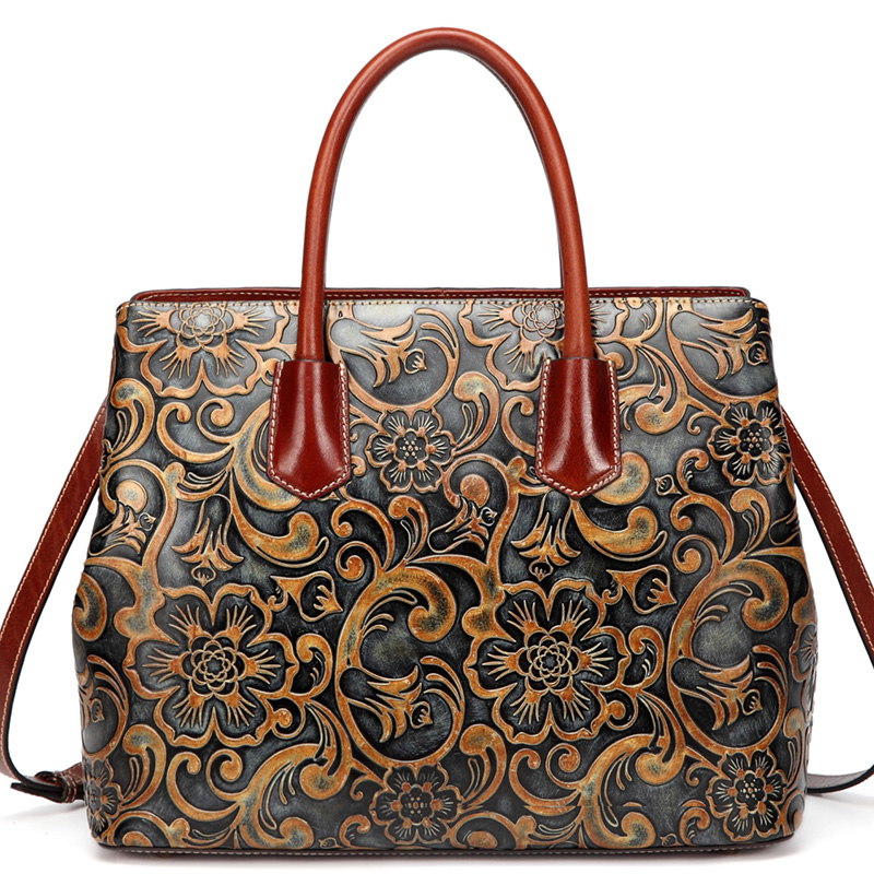 Floral Pattern Real Leather Tote Handbag LH2265A_2 Colors