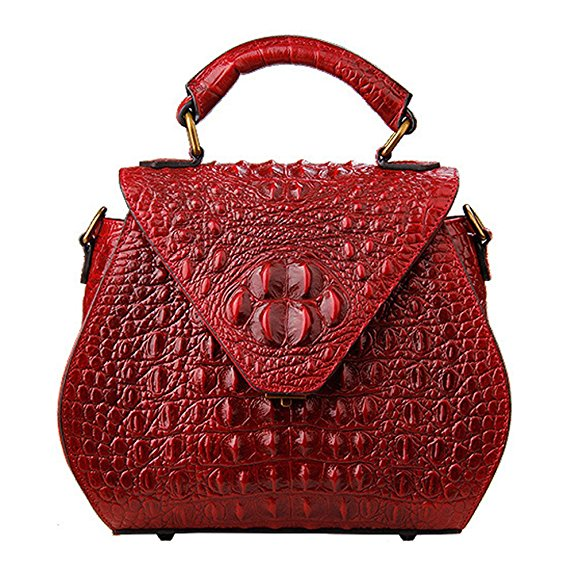 Crocodile Embossed Real Leather Tote LH2510_3 Colors