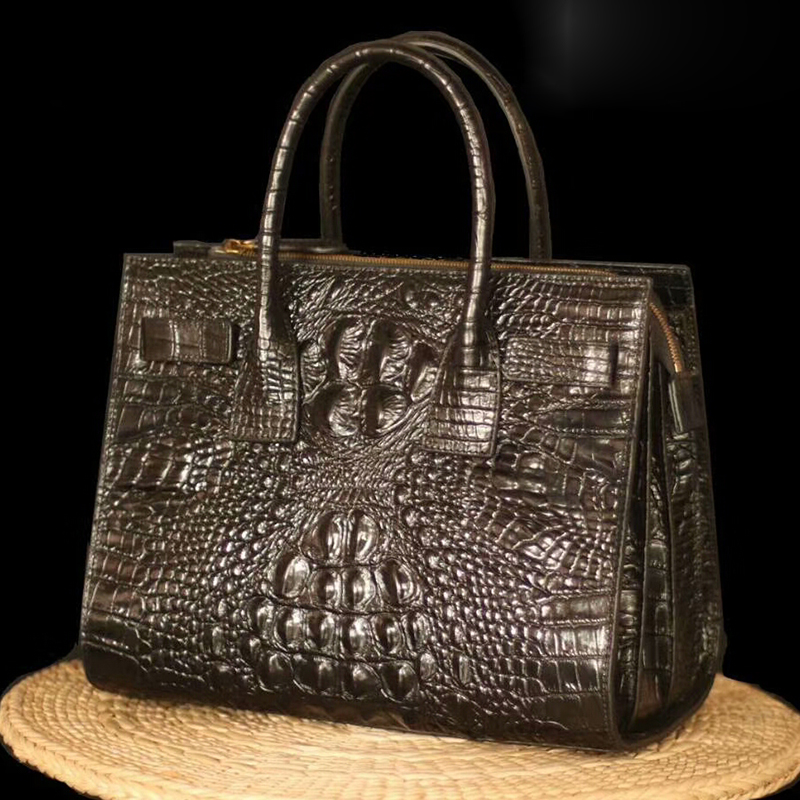 Crocodile Embossed Real Leather Tote Bag LH2508_3 Colors