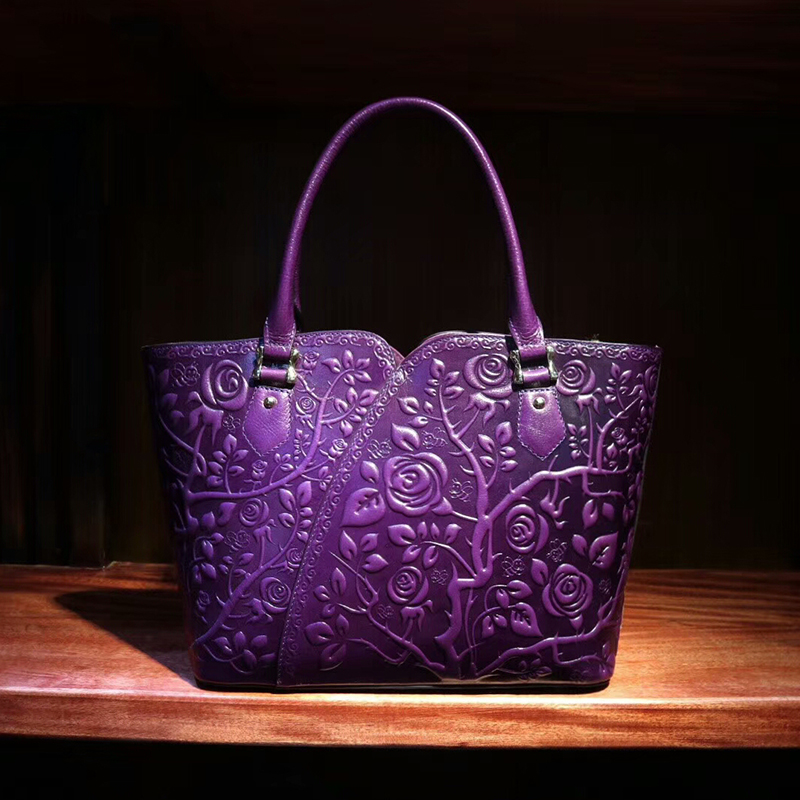Rose Floral Pattern Leather Tote LH1754_4 Colors