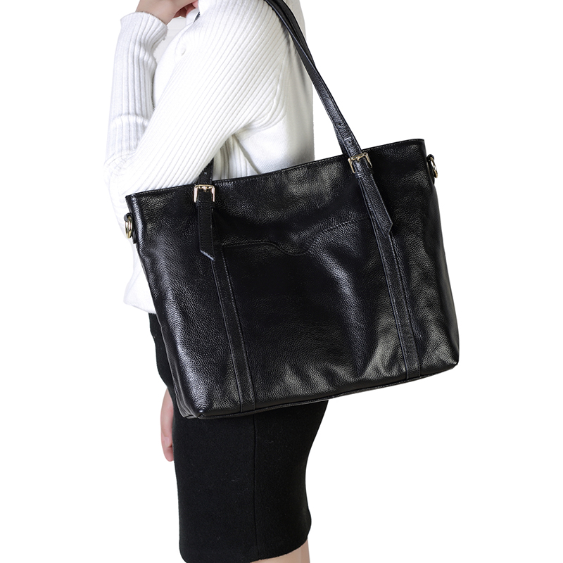 Black Capacity Real Leather Shoulder Bag LH2487