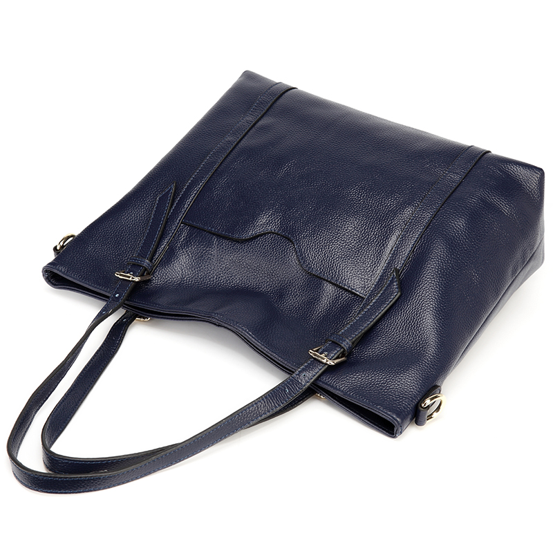 Navy Blue Capacity Real Leather Shoulder Bag LH2487