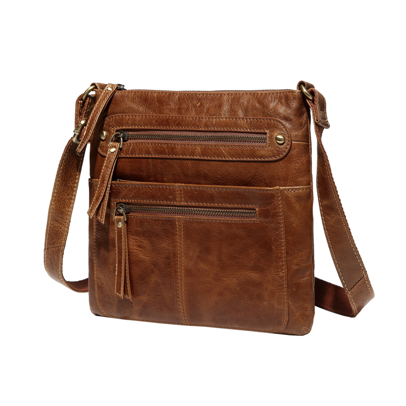 Brown Multi Pockets Crossbody Shoulder Bag LH2550