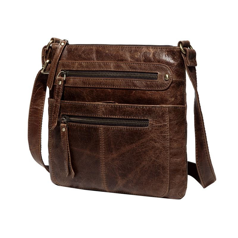 Coffee Multi Pockets Crossbody Shoulder Bag LH2550