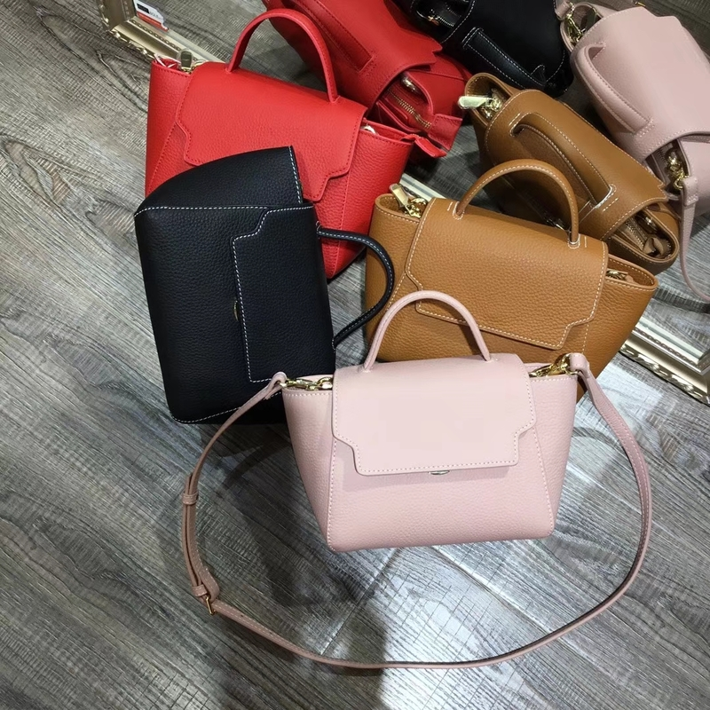 Flap Over Stitching Leather Satchel Bag LH2598_4 Colors