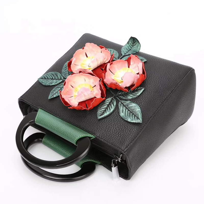 Flower Pattern Genuine Leather Purse for Women LH2624A_2 Colors