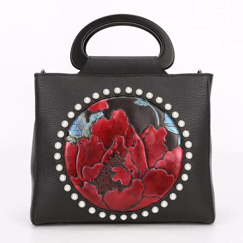 Flower Pattern Genuine Leather Hand Purse LH2624C_3 Colors