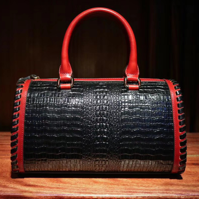 Crocodile Embossed Leather Purse Bag LH2637_2 Colors