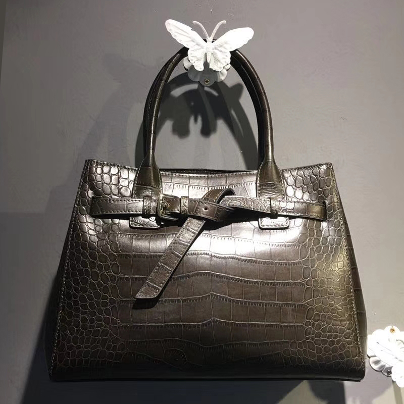 Crocodile Embossed Real Leather Tote Bag LH2655_5 Colors