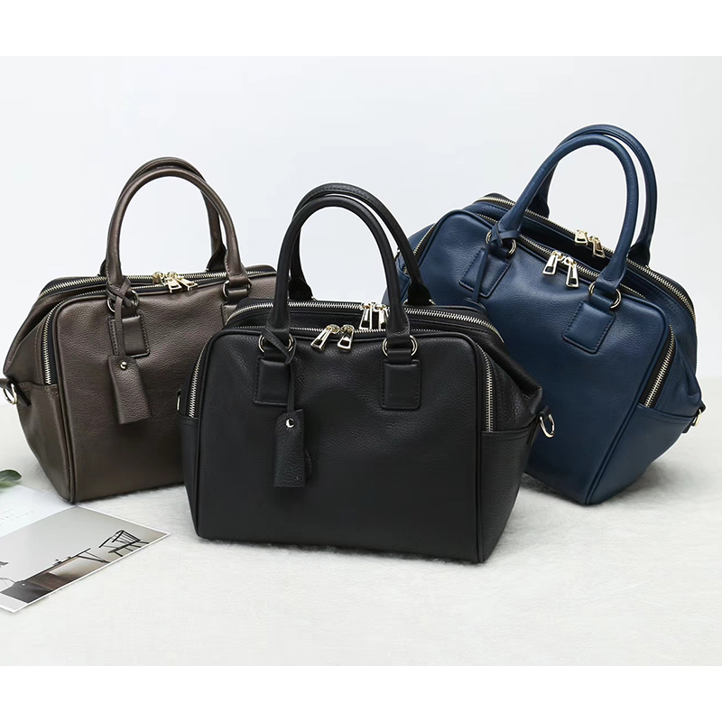 Zippers Soft Genuine Leather Tote Bag LH2650_3 Colors