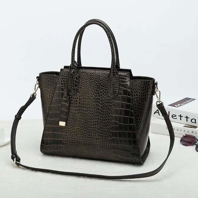 Crocodile Embossed Leather Tote Bag LH2651L_6 Colors