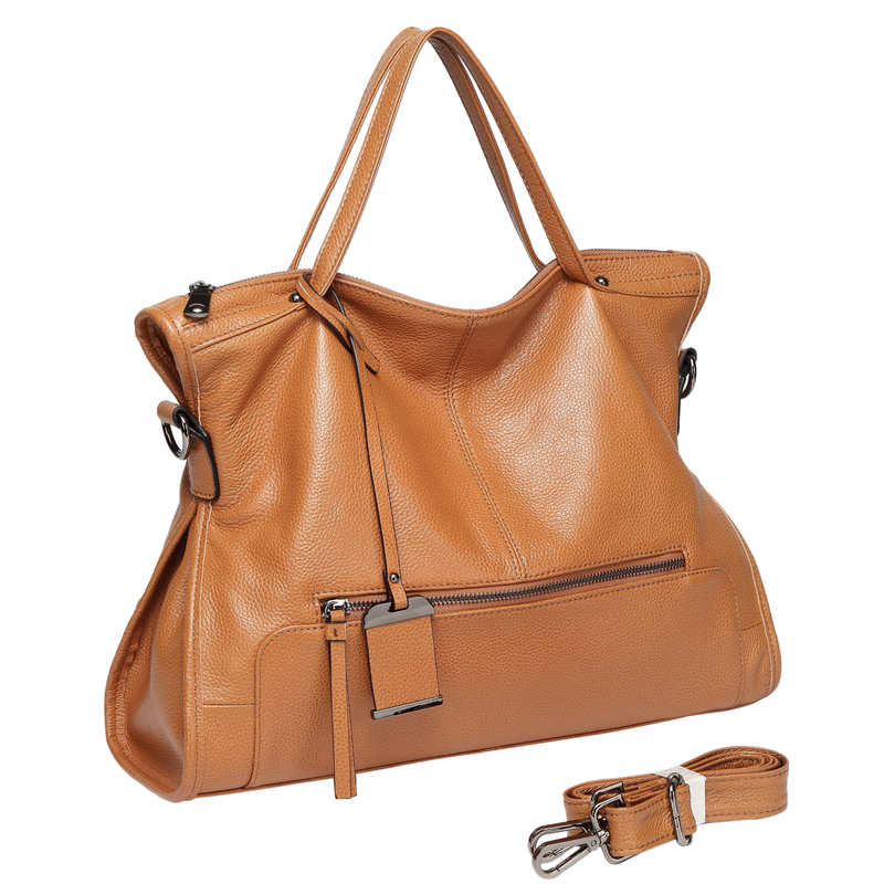 Brown Zipper Leather Tote Satchel Bag LH2656