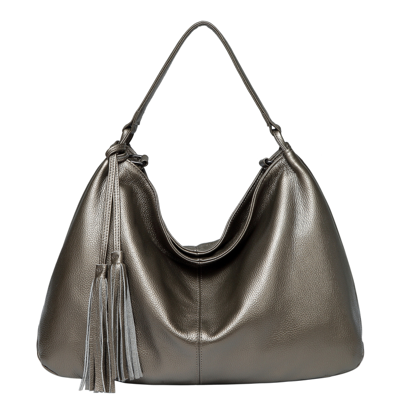 Bronze Tassels Leather Hobo Bag LH2657