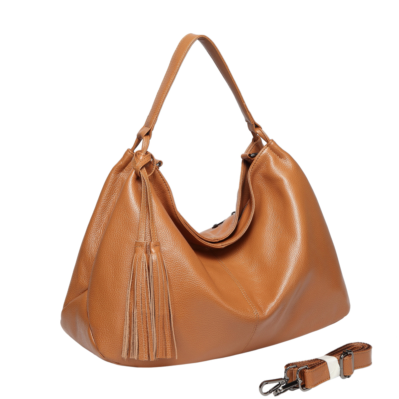 Brown Tassels Leather Hobo Bag LH2657