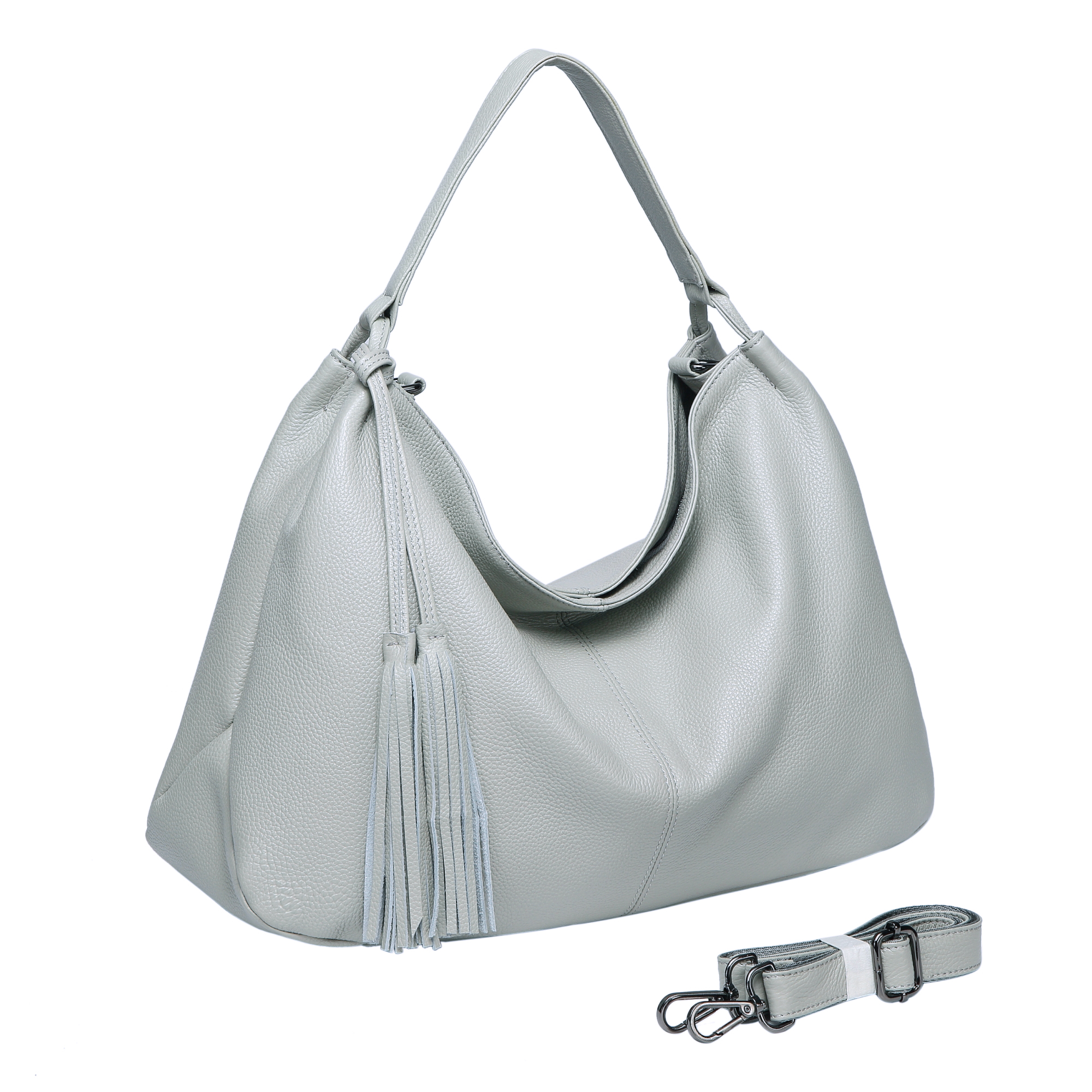 Light Blue Tassels Leather Hobo Bag LH2657