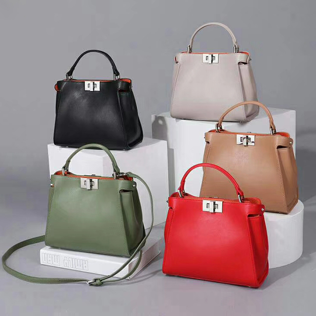 Classy Real Leather Satchel Crossbody Bag LH2672_4 Colors