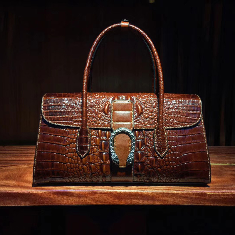 Luxury Crocodile Embossed Leather Tote Bag LH2681_5 Colors